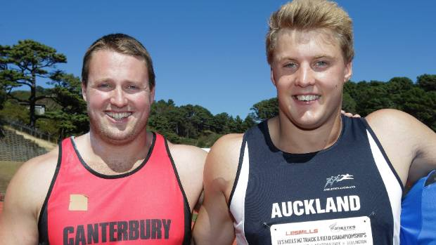 Tom Walsh, left, and Jacko Gill at 2015 national track and field championships in Wellington. Walsh won.