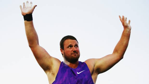 Tom Walsh celebrates after winning the shot put final at the Auckland Track Challenge last year.