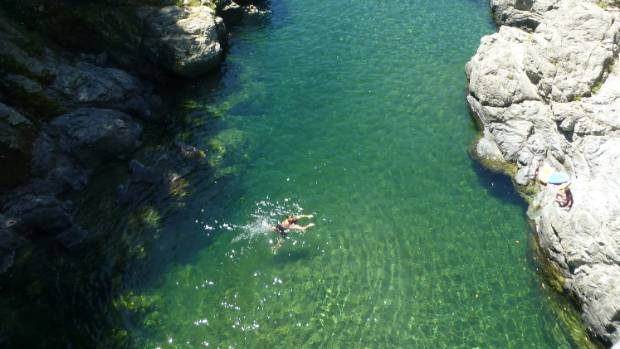 Swimmers in the Pelorus River.