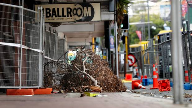 The branch has probably been there since just after the quake, and is likely to stay there until the cordon comes down ...