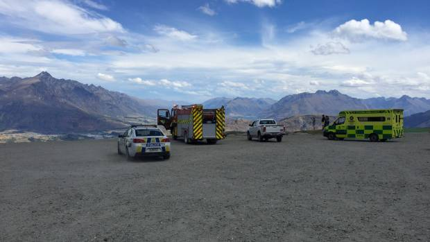 A paraponter suffered a broken leg and burns in the crash at Coronet Peak.