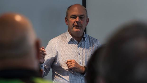 Steven Joyce talks to local business owners in Earthquake hit Kaikoura on Wednesday.