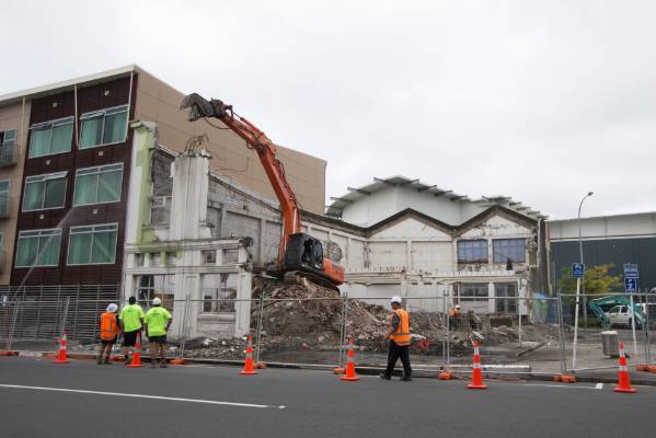 The Masters building on Egmont St in central New Plymouth was knocked to the ground on Wednesday.