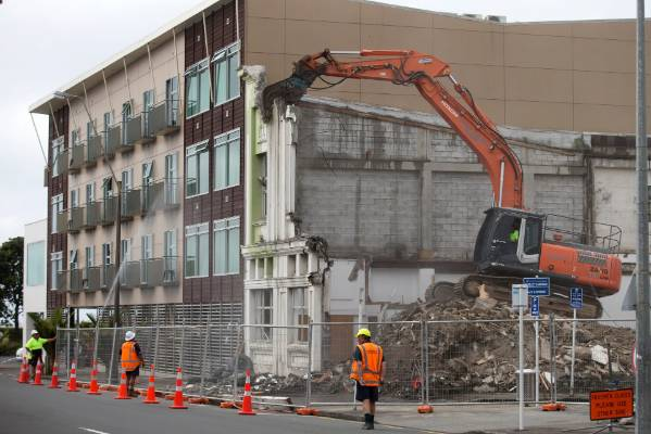 The Masters building on Egmont St in central New Plymouth was knocked to the ground.