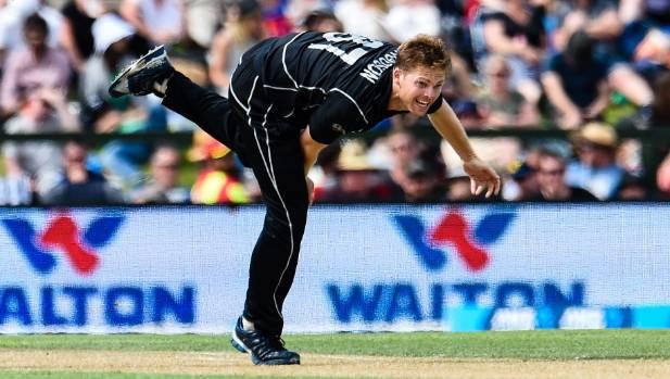 Lockie Ferguson bowls against Bangladesh at Hagley Oval last year.