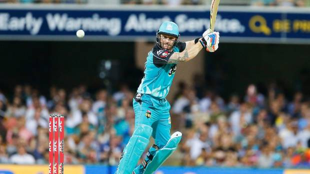 Brendon McCullum bats for the Brisbane Heat.