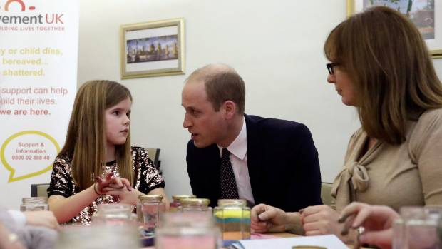 Prince William speaks to Aoife, 9, about the loss of his mother. She lost her father to cancer.
