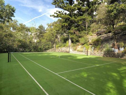 There's even a tennis court shaded by trees.