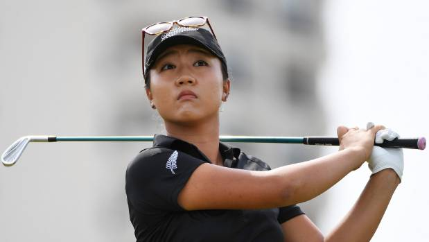 Lydia Ko looking sharp in the black uniform of the New Zealand Olympics team as she won silver in Rio.