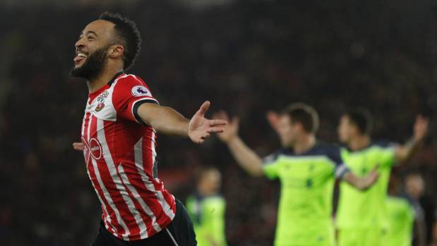 Southampton's Nathan Redmond celebrates scoring the only goal in their League Cup semifinal first leg match against ...