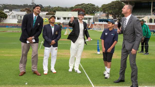 All eyes lifted skyward during the coin toss that would decide whether New Zealand or Bangladesh would bat the first ...