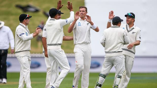 Tim Southee snares the early wicket of Imrul Kayes of Bangladesh on day one of the first test.