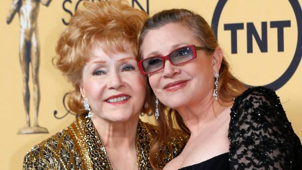 Carrie Fisher, right, with her mother actress Debbie Reynolds in 2015.