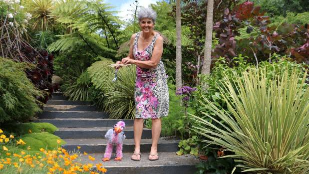 Marionette maker Cherol Filbee, Hawera, walks Phyllis, one of her favourite creations.