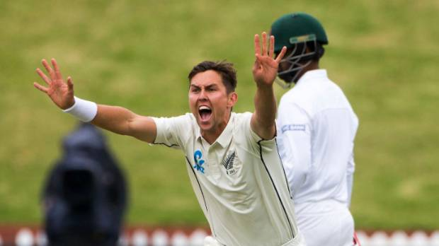 New Zealand's Trent Boult appeals successfully for the wicket of Tamim Iqbal.
