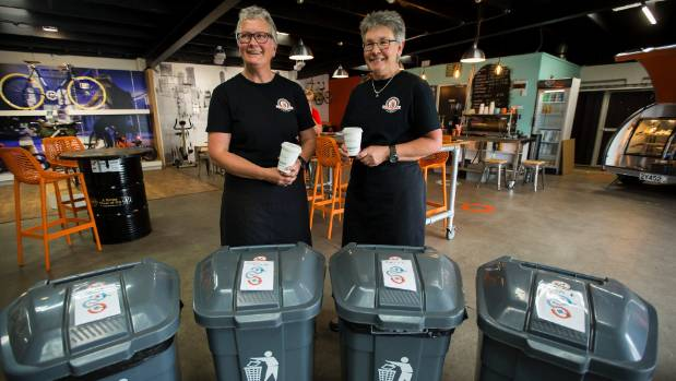 Coffee GoGo owners Rowan Sweeney, left, and Debra Maddocks take care of their own recycling and encourage customers to ...