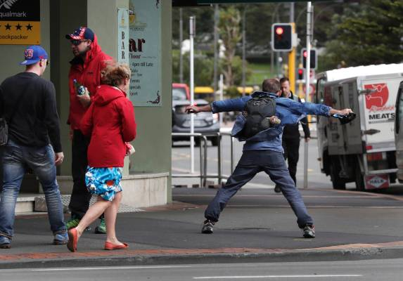 A bit of a battle for pedestrians in the 120kmh Wellington winds.