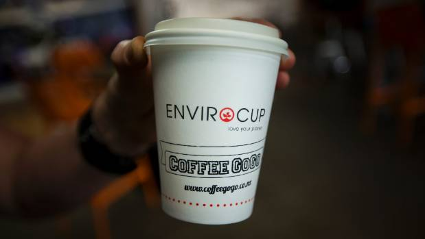 Coffee GoGo in Palmerston North uses biodegradable cups and lids.