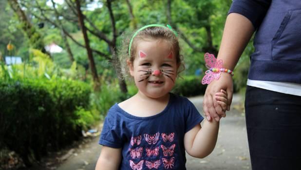 Emily Symon, 3, may be asking what scavenger hunt?  As she strolls through Pukekura Park hand in hand with her mum.
