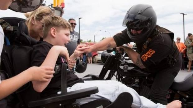 A motorcylist wishing Zane a happy birthday.