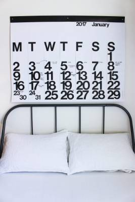 The 2017 calendar was the same width as his bed and Tuck thought it would almost be like a headboard.
