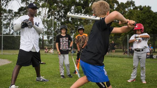 New York Yankees shortstop Didi Gregorius ran a skills clinic with junior baseball players in Christchurch on Tuesday.