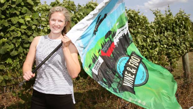 Wine Marlborough events manager Georgie Leach flying the flag for the Marlborough Wine and Food Festival, on February 11.