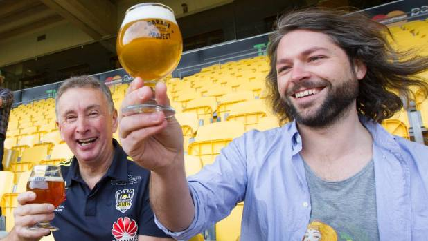 Former Wellington Phoenix coach Ernie Merrick with Jos Ruffell of the Garage Project at the launch of a commercial deal ...