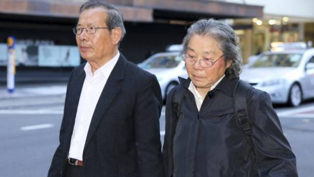 Kathy Lin's parents, Yang Fei Lin and Feng Qing Zhu arrive at the murder trial of Robert Xie, 21 May 2014.