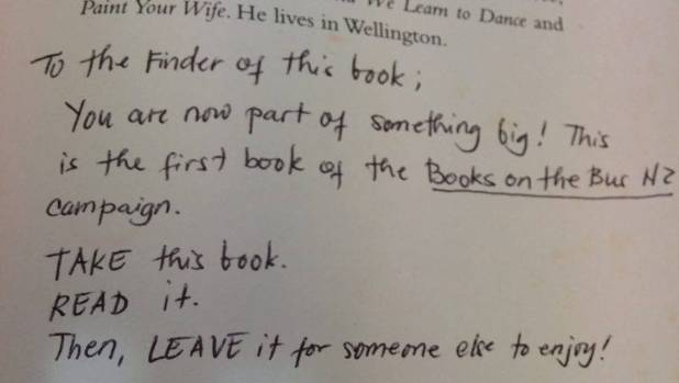 Book fairy Munoz wrote this note inside the novel Mr Pip, in the hope its finder will continue the Books on the Bus movement.