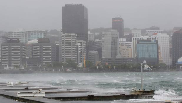 January 5, 2014: Wind and rain batters Wellington waterfront.