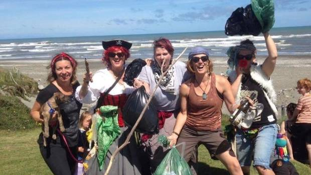 Residents get in the spirit at the Otaki 'Shipshow' beach cleanup.