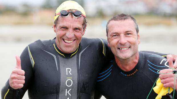Steve Prescott and Marco Troiani finished first and second in the Prime Port ocean swim on Saturday.