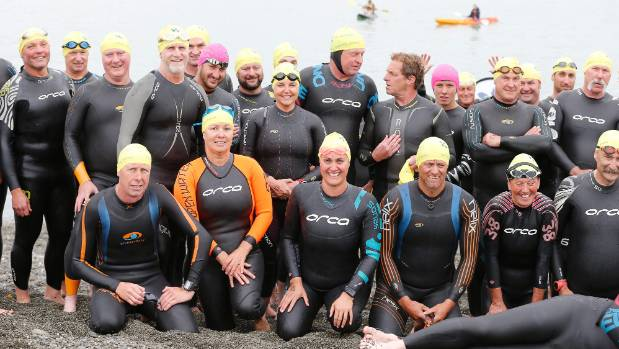 Competitors from the ocean swim that finished in Caroline Bay.