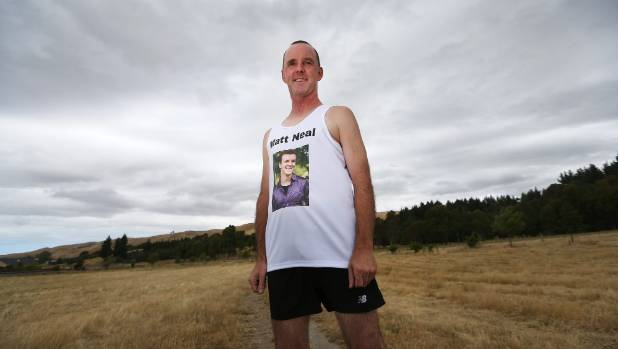 Bary Neal wears a t-shirt honouring his son, Matt. Neal hopes to encourage more New Zealanders to open up and seek help ...