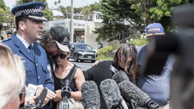 Inspector Trevor Beggs updates media on the crash that killed Jacob Pakura, flanked by Jacob's parents Jason and Esther ...