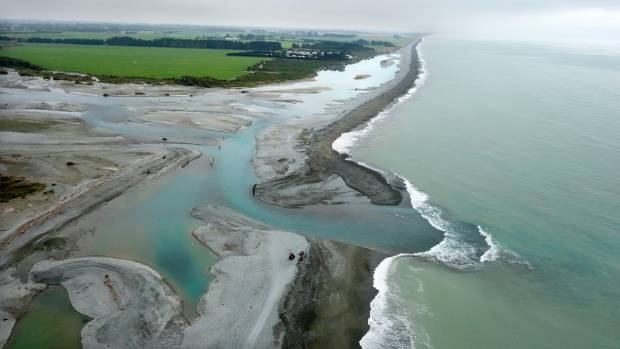 An aerial view showing the Rangitata River mouth and beach.