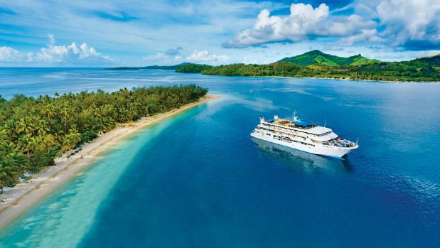 Blue Lagoon Cruises' boat Fiji Princess moored in the Yasawas.