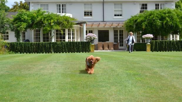 Sam exploring Angela Spooner's garden outside her Georgian-style home.