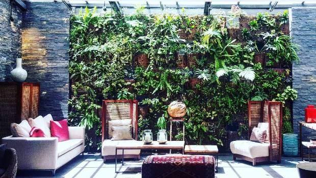 A living wall styled for opulent effect at the Doubletree Hilton of Santiago, Chile.