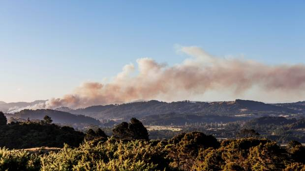 Flames were visible from 10km away as the devastating scrub fire threatened more homes in the Coromandel.