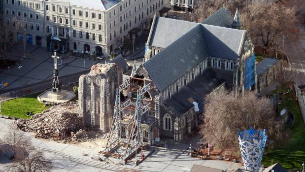 An aerial view of the cathedral taken after the 2011 earthquake.