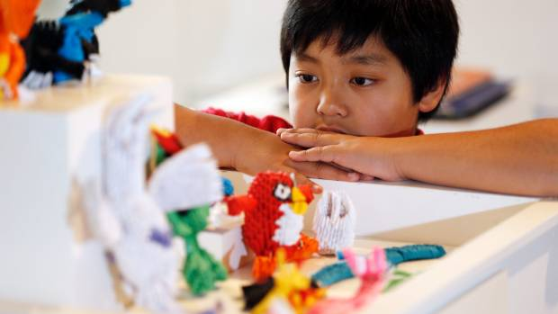 A passion for origami-like art passion leads to gallery display and hosting classes for a 10-year-old Timaru boy.