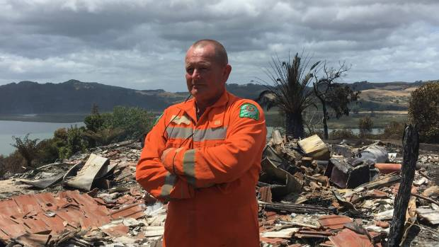 Principal rural fire officer Paul Shaw of Thames Valley Fire in front of the devastation.