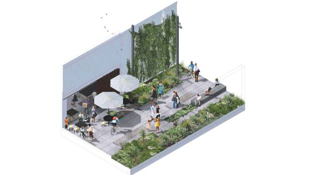 An artist's impression of the South Frame public spaces, released in late 2015.