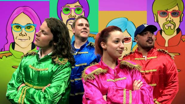 The cast of Hey Jude the musical prepares to put on a Timaru man's first musical.