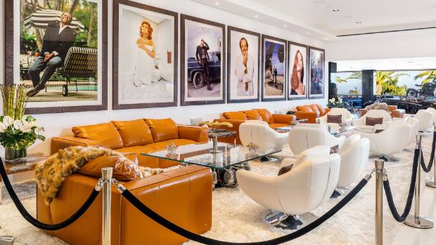 Legendary Hollywood stars line the walls in the entertainment zone.