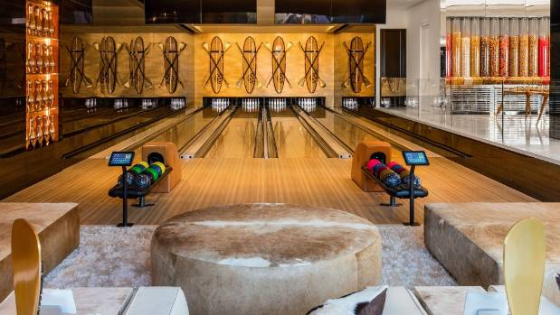 A four-lane bowling alley is another part of the huge entertainment complex.