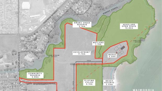 The proposed housing development and marae site marked by red lines.