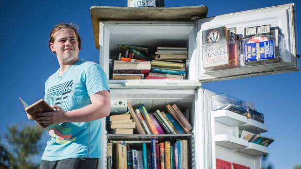 Leon Humphrey, 15, is a regular user of the fridge library, and was surprised to find such a rare book in it.